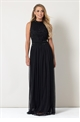 Sistaglam Debbie black embroided detailed high neck top with a mesh skirt maxi dress.