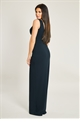Jessica Wright Amiya Black Wrap Neckline Maxi Dress With Ruched Waist And Side Frill