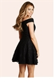 JESS WRIGHT AMARA BLACK LACE BARDOT SKATER DRESS