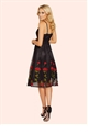 Sistaglam Clio Black Embroidered Cami Prom Dress