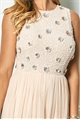 Sistaglam Special Edition Jessica Rose Thaline nude floral beaded maxi dress