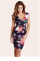 Jessica Wright Pandora Black Floral Midi Dress