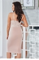 Jessica Wright Santana nude lace sweet heart neckline and spaghetti strap bodycon dress