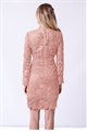Sistaglam Jamilla Nude Lace High Neck Long Sleeve Bodycon Dress.