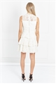 Jessica Wright Dorsey Victorian Neckline Sleeveless Teared Crochet Lace Dress
