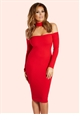 Jessica Wright Valora Red Choker Bardot Midi Dress