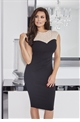 Jessica Wright Allegra black bodycon with mesh beaded top.