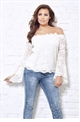 Jessica Wright Dina cream lace off the shoulder frill sleeved top.