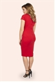 Jessica Wright Betty Red V-neck Pleated Bodycon Dress