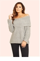 Jessica Wright Alia Grey Off The Shoulder Knit Jumper