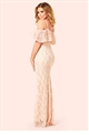 Jessica Wright Christina Nude Sequin Lace Cold Shoulder Maxi Dress