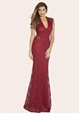 Jess Wright Becky Celebrity Inspired Maxi Dress in Berry Re Colour