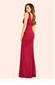 Jessica Wright Marlia Berry V-neck Pleated Maxi Dress
