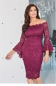 Jessica Wright Vanessa berry off the shoulder lace dress with bell sleeves.