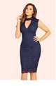 Jessica Wright Matilda Navy Sequin Lace High Neck Bodycon Dress