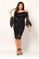 Jessica Wright Vanessa black lace off the shoulder long frilled sleeve bodycon dress.