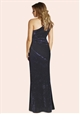 Jessica Wright Aleeca Navy Velvet One Shoulder Maxi Dress