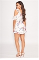 Sistaglam Loves Jessica Wright Evelli multi floral cold shoulder chffon frill print playsuit
