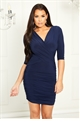 Sistaglam Loves Jessica Wright Melinda navy stretch wrap bodycon sleeve dress with ruching