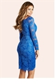 Jessica Wright Fay Blue Lace Wrap Front Bodycon Dress