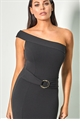 Sistaglam Loves Jessica Wright Reiny black one shoulder maxi bodycon dress with ring belt