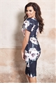 Jessica Wright Zarianna black multi floral frilled sleeve bodycon dress