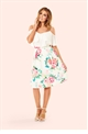 Jessica Wright Louiza Cream Floral Print Skater Skirt