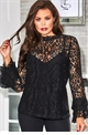Jessica Wright Talita black lace top with frilled neckline and sleeves