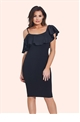 Jessica Wright Lilah Black Ruffle Bodycon Dress