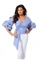 Jessica Wright Sheena blue and white v neck top with frilled sleeves