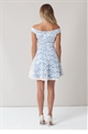 Sistaglam Martina White Bardot Skater Dress With Cornflower Blue Lining