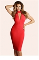 Jessica Wright Aurora Red High Neck Plunge Bodycon Dress