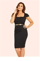 Jessica Wright Fiona Black Pleated Wrap Bust Bodycon Dress