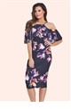Jessica Wright Bryony Multicoloured Floral Cold Shoulder Bodycon Dress
