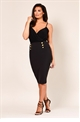 Jessica Wright Haidan Black pencil bodycon skirt with panel detail.