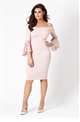 Jessica Wright 'Zazie' Nude Bardot Lace Frill Sleeve Bodycon Dress