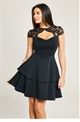 Jessica Wright Sully Black Lace Keyhole Skater Double Tier Skirt
