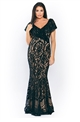 Sista Glam Loves Jessica Wright Symona black and nude off the shoulder frilled all over lace maxi dress