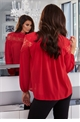 Jessica Wright Silvia Red Lace Top With High Neck Detail