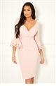 Jessica Wright Trixey Nude midi bodycon trim sleeve dress
