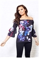 Jessica Wright Flissie blue off the shoulder top with floral print and frilled sleeves