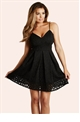 Jessica Wright Adaline Black Geometric Bonded Skater Dress