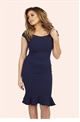 Jessica Wright Marie Navy Frill Hem Bodycon Midi Dress