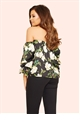Jessica Wright Amarie Black Floral Satin Bardot Top