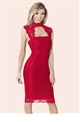 Sistaglam aubrey red lace bodycon dress