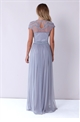 Sistaglam Saffron grey and nude beaded maxi dress.