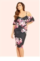 Jessica Wright Darcy Purple Floral Cold Shoulder Bodycon Dress