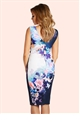 Jessica Wright Libby Blue Floral Print Wrap Front Midi Dress