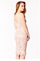 ROSIE CANNES NUDE LACE FEATHER TRIM DRESS