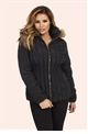 Jessica Wright Fliss Black Faux Fur Trim Jacket
